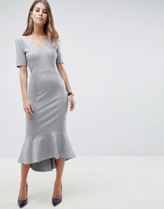 Read more about Asos design pep hem midi dress with v neck and pockets - grey marl