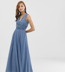 Read more about Asos design bridesmaid maxi dress with pearl and sequin embellished drape bodice
