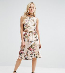 Read more about Miss selfridge petite floral jacquard midi skirt - gold