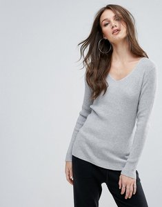 Read more about Vero moda ribbed jumper with v neck - light grey melange