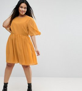 Read more about Asos curve soft cape sleeve mini dress - mustard
