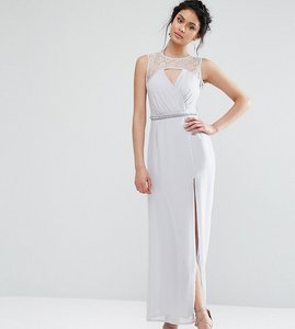 Read more about Elise ryan sweetheart lace maxi dress with embellished waist - grey