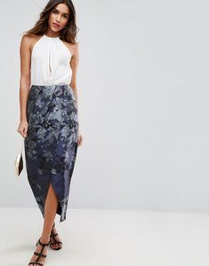 Read more about Asos jacquard wrap maxi skirt in border floral - multi