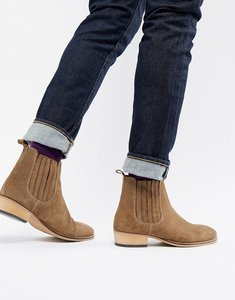6a8a82062bd3 Read more about Asos design cuban heel western chelsea boots in stone suede  emboss - stone