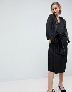 Read more about Asos white satin kimono midi dress - black
