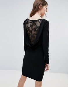 Read more about Ichi lace insert back bodycon dress - black