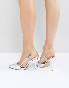 Read more about True decadence silver metallic slingback point heeled shoes - silver