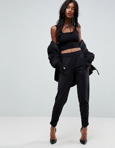 Read more about Asos track pant trousers with hem detail - black