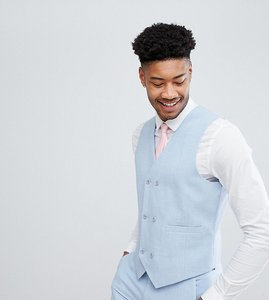 Read more about Asos tall wedding skinny suit waistcoat in soft blue cross hatch with printed lining - light blue