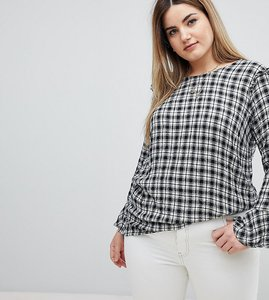 Read more about Zizzi ruffle detail gingham blouse - black white