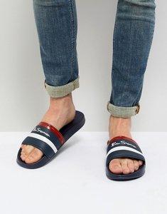 Read more about Ben sherman stripe slider flip flops - blue