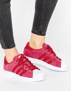 Read more about Adidas originals pink suede superstar trainers - pink