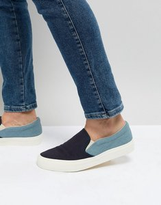 Read more about Asos design slip on plimsolls in two tone chambray and navy - blue