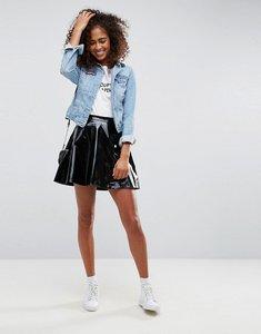 Read more about Asos vinyl mini skater skirt - black