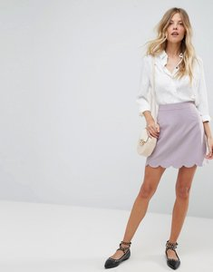 Read more about Asos tailored a-line mini skirt with scallop hem - grey lilac
