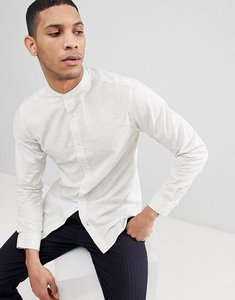 Read more about Selected homme slim grandad shirt with fleck - white