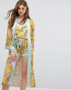 Read more about New look floral satin pyjama robe - yellow pattern