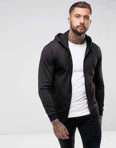 Read more about Asos zip up hoodie in poly tricot - black