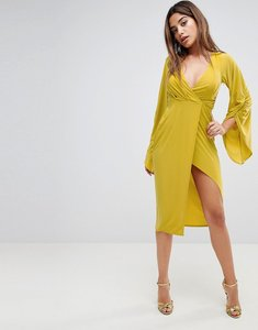 Read more about Asos deep plunge slinky ruched kimono dress - chartreuse