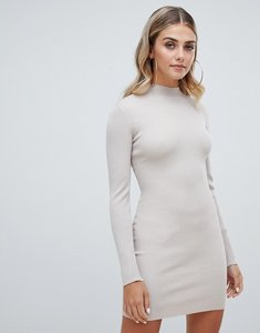 Read more about Missguided high neck knitted jumper dress - beige