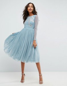 Read more about Asos embellished bow tulle midi dress - dusty blue