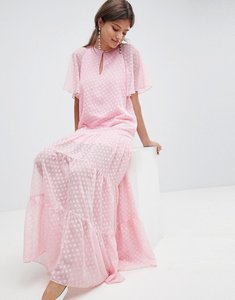 Read more about Traffic people chiffon spot print maxi dress - pink
