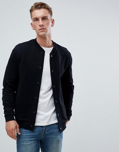 Read more about Asos design jersey bomber jacket in black with poppers - black