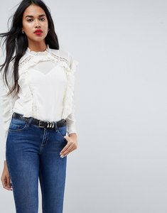 Read more about Asos lace insert ruffle blouse - ivory