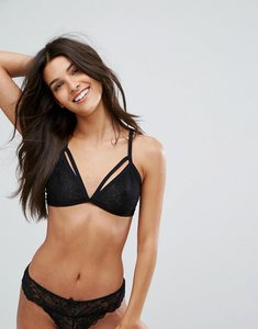 Read more about Bershka lace strap detail bra - black