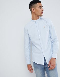 Read more about Farah brewer slim fit grandad collar oxford shirt in blue - blue