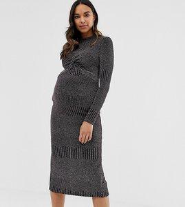 Read more about Asos design maternity rainbow metallic twist front midi dress