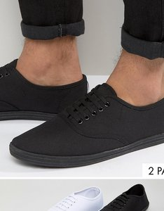Read more about Asos plimsolls 2 pack in black and white save - black white