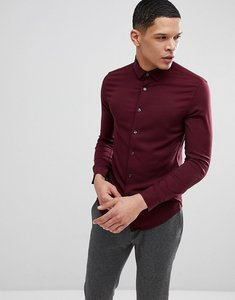 Read more about Asos skinny viscose shirt in burgundy - burgundy