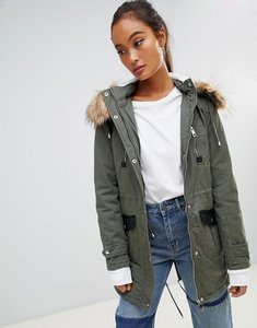 Read more about Parisian parka jacket with faux fur trim - khaki beige