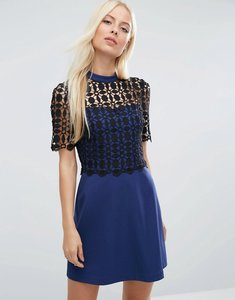 Read more about Asos premium structured a-line dress with lace top - navy