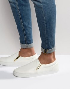 Read more about Asos design vegan slip on plimsolls in white with zips - white