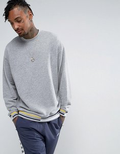Read more about Asos oversized sweatshirt with tipped ribs - grey marl