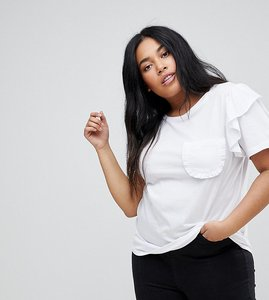 Read more about Glamorous curve t-shirt with ruffle sleeves and chest pocket - white