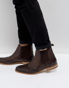 Read more about Asos chelsea boots with brogue detailing in brown leather - brown