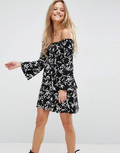 Read more about Asos shirred bardot mini dress with trumpet sleeve in monochrome print - mono floral