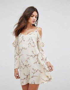 Read more about Ax paris floral cold shoulder long sleeve dress - cream