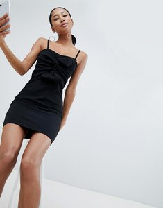 Read more about Lasula knot front cami mini dress in black - black