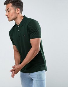 Read more about Tommy hilfiger luxury pique polo tipped slim fit in green - 094 scarab