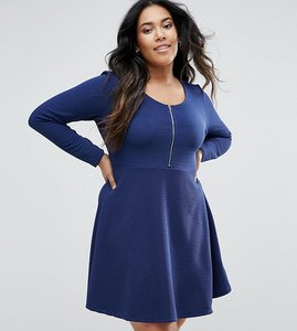 Read more about Brave soul plus zipper skater dress - navy
