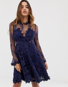 Read more about Forever u lace prom midi skater dress in navy