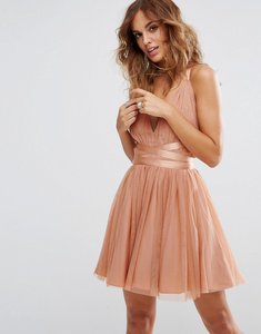 Read more about Asos premium tulle mini prom dress with ribbon ties - peach