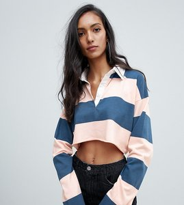 Read more about Missguided tall cropped rugby top in multi stripe - blue pink