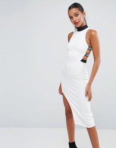 Read more about Asos high neck love strap bodycon midi dress - white black