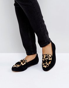 Read more about Office fedora leopard print flat suede shoes - black