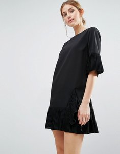 Read more about The english factory pleat detail dress - black